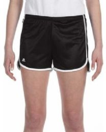 36 Units of Women's Russell Athletic Active Shorts In Black And White, Size Large - Womens Shorts