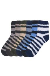 120 Units of Mens Striped Plush Soft Socks Size 10-13 - Men's Fuzzy Socks