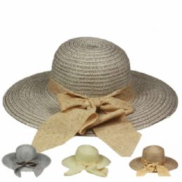 48 Units of WOMEN'S SUMMER HAT WITH BOW IN ASSORTED COLOR - Sun Hats