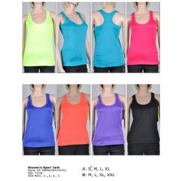 72 Units of Womens Fashion Sports Tank Assorted Colors And Sizes M-XXL - Womens Active Wear