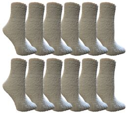 12 Units of Yacht & Smith Women's Fuzzy Snuggle Socks Light Blue, Size 9-11 Comfort Socks - Womens Fuzzy Socks