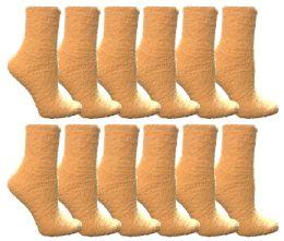 12 Units of Yacht & Smith Women's Fuzzy Snuggle Socks Light Yellow Size 9-11 Comfort Socks - Womens Fuzzy Socks