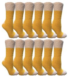 12 Units of Yacht & Smith Women's Fuzzy Snuggle Socks , Size 9-11 Comfort Socks Yellow With White Heel and Toe - Womens Fuzzy Socks