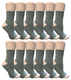 12 Units of Yacht & Smith Women's Fuzzy Snuggle Socks , Size 9-11 Comfort Socks Teal With White Heel And Toe - Womens Fuzzy Socks
