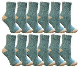 12 Units of Yacht & Smith Women's Fuzzy Snuggle Socks , Size 9-11 Comfort Socks Blue With White Heel and Toe - Womens Fuzzy Socks