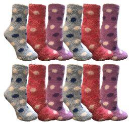 12 Units of Yacht & Smith Women's Fuzzy Snuggle Socks , Size 9-11 Comfort Socks Assorted Polka Dots - Womens Fuzzy Socks