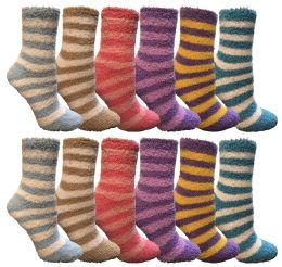 12 Units of Yacht & Smith Women's Fuzzy Snuggle Socks , Size 9-11 Comfort Socks Assorted Stripes - Womens Fuzzy Socks