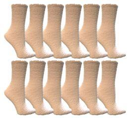 12 Units of Yacht & Smith Women's Fuzzy Snuggle Socks White, Size 9-11 - Womens Fuzzy Socks