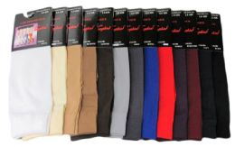 120 Units of Womens Trouser Socks Size 9-11 Nylon Stretch Knee Socks, Coffee - Womens Trouser Sock