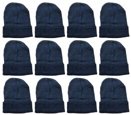 12 Units of YACHT & SMITH 12 Pack Winter Beanie Hats, Thermal Stretch Unisex Cuffed Plain Skull Knit Hat Cap (Black) - Winter Beanie Hats