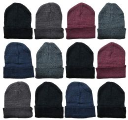 12 Units of YACHT & SMITH 12 Pack Winter Beanie Hats, Thermal Stretch Unisex Cuffed Plain Skull Knit Hat Cap (Assorted Pack A) - Winter Beanie Hats