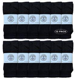 12 Units of Yacht & Smith 28 Inch Men's Long Tube Socks, Black Cotton Tube Socks Size 13-16 - Mens Tube Sock