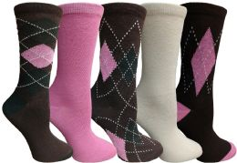 Yacht&smith 5 Pairs Of Womens Crew Socks, Fun Colorful Hip Patterned Everyday Sock (assorted Argyle e) - Womens Crew Sock