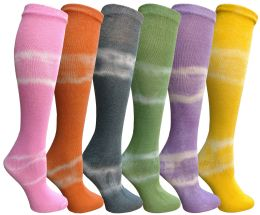 6 Units of Yacht & Smith 6 Pairs Girls Tie Dye Knee High Socks, Anti Microbial, Soft Touch, Kids - Girls Knee Highs