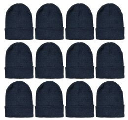 288 Units of Yacht & Smith Black Beanies Bulk Thermal Winter Hat Solid Black - Winter Beanie Hats