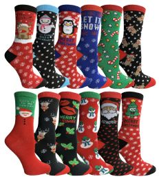 24 Units of Yacht & Smith Christmas Holiday Socks, Sock Size 9-11 - Womens Crew Sock
