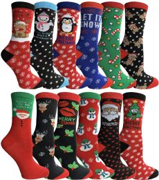60 Units of Yacht & Smith Christmas Holiday Crew Socks Assorted Holiday Design Size 9-11 - Womens Crew Sock