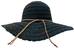 Yacht & Smith Cotton Crochet Sun Hat Soft Lace Design, Style B - Black - Sun Hats
