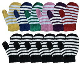 240 Units of Yacht & Smith Kids Striped Mitten With Stretch Cuff Ages 2-8 BULK BUY - Bulk Gloves for Homeless and Charity