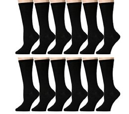 240 Units of Yacht & Smith Ladies Thin Cotton Black Crew Socks, Size 9-11 - Womens Crew Sock