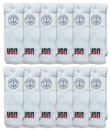 240 Units of Yacht & Smith Men's Cotton 28 Inch Tube Socks, Referee Style, Size 10-13 White With Usa Print Bulk Buy - Men's Socks for Homeless and Charity