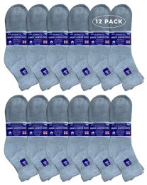 12 Units of Yacht & Smith Men's Loose Fit NoN-Binding Cotton Diabetic Ankle Socks, Gray King Size 13-16 - Big And Tall Mens Diabetic Socks