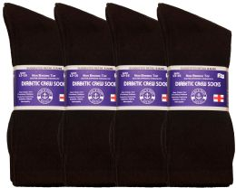 12 Units of Yacht & Smith Men's King Size Loose Fit Diabetic Crew Socks, Brown, Size 13-16 - Big And Tall Mens Diabetic Socks