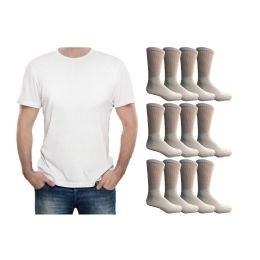 120 Units of Yacht & Smith Men's White Cotton Crew Socks Size 10-13 And White Solid T-Shirt Size Medium - Men's Socks for Homeless and Charity