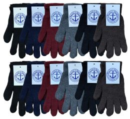 120 Units of Yacht & Smith Men's Winter Gloves, Magic Stretch Gloves In Assorted Solid Colors Bulk Pack - Knitted Stretch Gloves