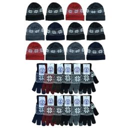 240 Units of Yacht & Smith Men's Winter Set, Snowflake Print Stretch Gloves And Fleece Lined Beanie - Winter Sets Scarves , Hats & Gloves