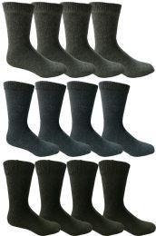 12 Units of Yacht & Smith Non Slip Gripper Bottom Men's Winter Thermal Tube Socks Size 10-13 - Mens Thermal Sock