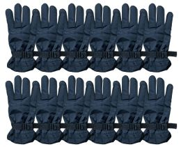 72 Units of Yacht & Smith Men's Winter Warm Ski Gloves, Fleece Lined With Black Gripper Water Resistant BULK BUY - Bulk Gloves for Homeless and Charity