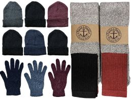 144 Units of Yacht & Smith Mens 3 Piece Winter Set , Thermal CREW Socks Gloves And Beanie Hat - Winter Care Sets