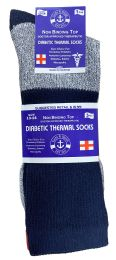 36 Units of Yacht & Smith Mens King Size Thermal Ring Spun Non Binding Top Cotton Diabetic Socks With Smooth Toe Seem - Big And Tall Mens Diabetic Socks