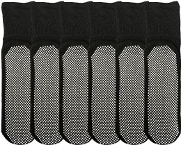 6 Units of Yacht & Smith Mens Loose Fit Gripper Bottom Diabetic NoN-Skid Slipper Black Socks, Grippy Hospital Sock, Size 10-13 - Men's Diabetic Socks