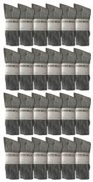 36 Units of Yacht & Smith Men's Cotton Crew Socks Gray Size 10-13 - Mens Crew Socks