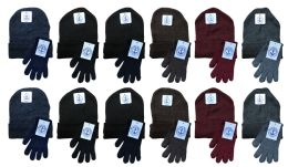 24 Units of Yacht & Smith Mens Warm Winter Hats And Glove Set Solid Assorted Colors 24 Pieces - Winter Sets Scarves , Hats & Gloves