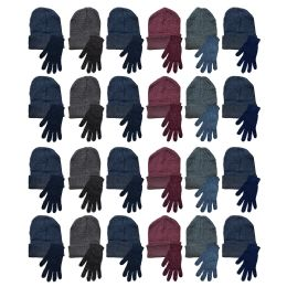 48 Units of Yacht & Smith Mens Warm Winter Hats And Glove Set Assorted Colors 48 Pieces - Winter Sets Scarves , Hats & Gloves