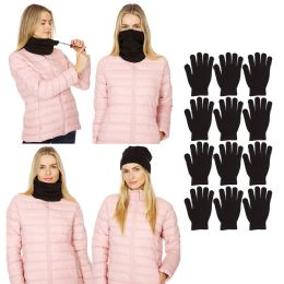 720 Units of Yacht & Smith Unisex Warm Winter Neck Gaitor And Glove And Beanie Set Solid Black 720pieces - Winter Care Sets