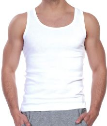 24 Units of Yacht & Smith Mens White Ribbed 100% Cotton Tank Top Size M - Mens T-Shirts