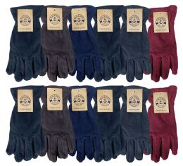 24 Units of Yacht & Smith Mens Winter Fleece Gloves With Snug Fit Cuff - Fleece Gloves