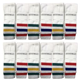 48 Units of Yacht & Smith Men's Cotton Tube Socks, Referee Style, Size 10-13 White With Stripes - Mens Tube Sock