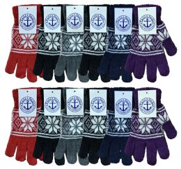 240 Units of Yacht & Smith Snowflake Print Womens Winter Gloves With Stretch Cuff 240 Pairs - Knitted Stretch Gloves