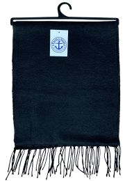 144 Units of Yacht & Smith Solid Black Color Warm Winter Fleece Scarves Bulk Buy - Scarves for Charity