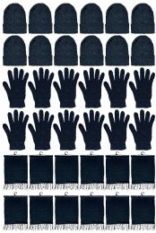 24 Units of Yacht & Smith Unisex 3 Piece Pre Assembled Winter Care Set Hat Gloves & Scarf Solid Black - Winter Care Sets