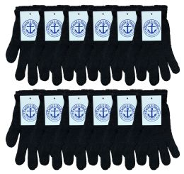 72 Units of Yacht & Smith Unisex Black Stretchy Winter Magic Gloves - Knitted Stretch Gloves