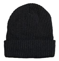 60 Units of Yacht & Smith Unisex Black Stretch Ribbed Sherpa Beanie, Super Warm Winter Beanie - Winter Beanie Hats