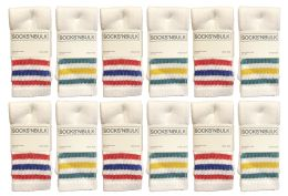 12 Units of Yacht & Smith Kids Cotton Tube Socks Size 6-8 White With Stripes - Boys Crew Sock
