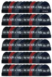 60 Units of Yacht & Smith Unisex Snowflake Fleece Lined Winter Beanie 6 Colors - Winter Beanie Hats