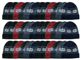 144 Units of Yacht & Smith Unisex Snowflake Heavy Fleece Lined Winter Beanie Hat Bulk Buy - Bulk Hats for Homeless and Charity